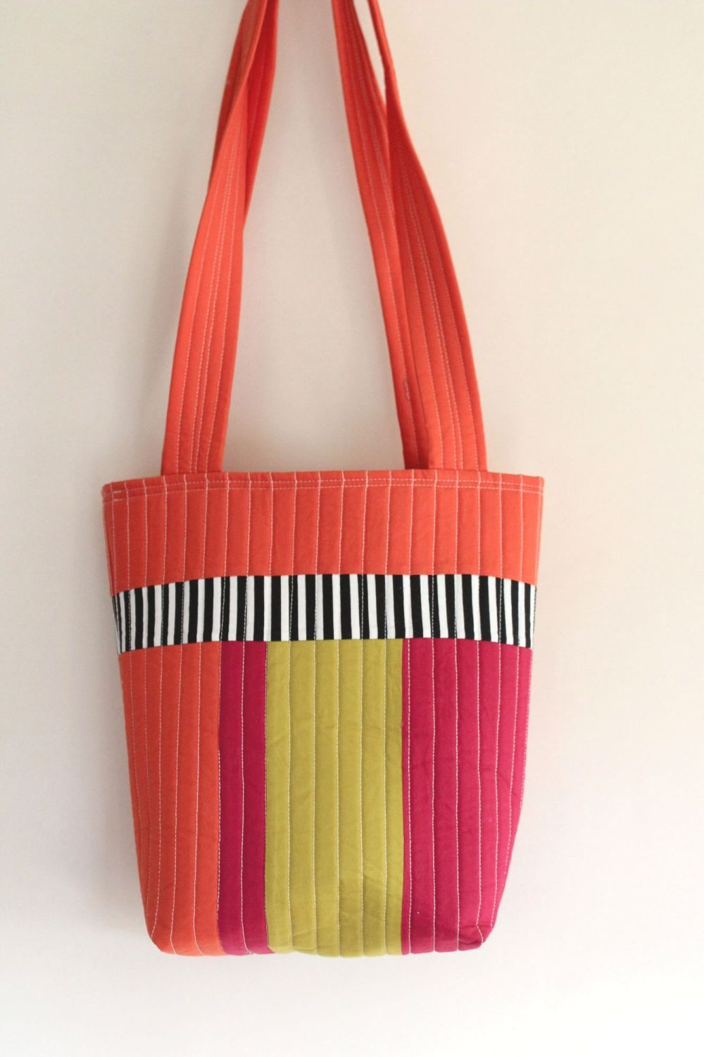 Small Tote Bag in Orange Pink and Pickle(2)