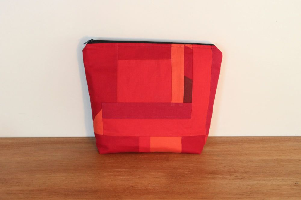 A Dorset Patchworks Bits and Bobs Patchwork  Pouch (Red/Orange)