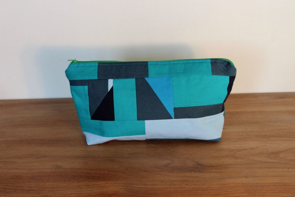 A Dorset Patchworks Bits and Bobs Patchwork  Pouch (Blue/Green)