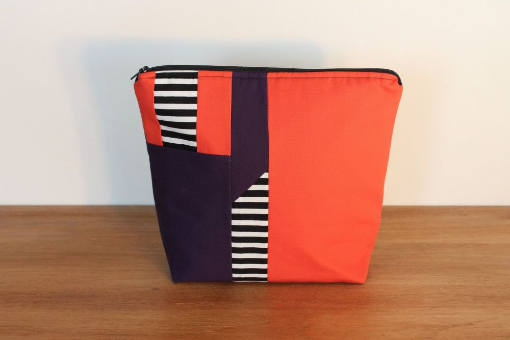 A Dorset Patchworks Bits and Bobs Patchwork  Pouch (Purpe/Orange)