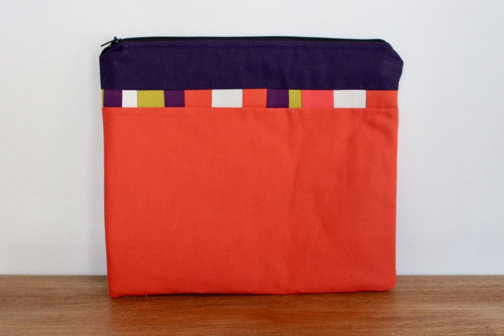 A Dorset Patchworks Bits and Bobs Quilted Pouch (Orange and Purple)
