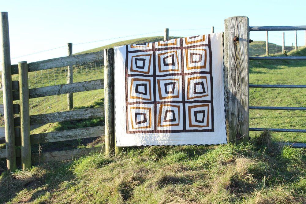 Wonky Log Cabin Reversible Quilt/Wall Hanging