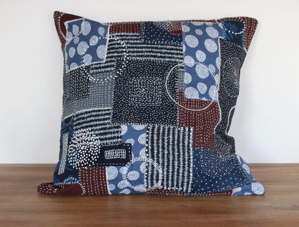 Boro/Sashiko Inspired Large Envelope Cushion (8)