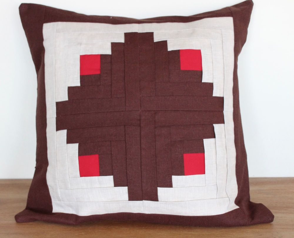 'Folded'Log Cabin Quilted Cushion (Manx)(3)