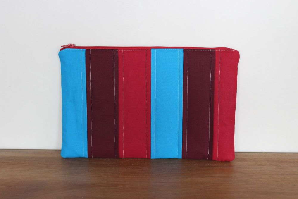 A Dorset Patchworks Bits and Bobs Pouch (Red and Blue Stripes)