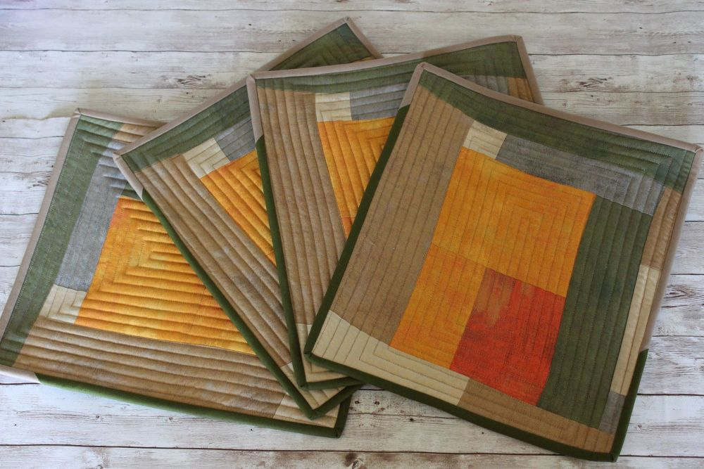 Set of Four Artisan Quilted Place Mats (Desert Earth)