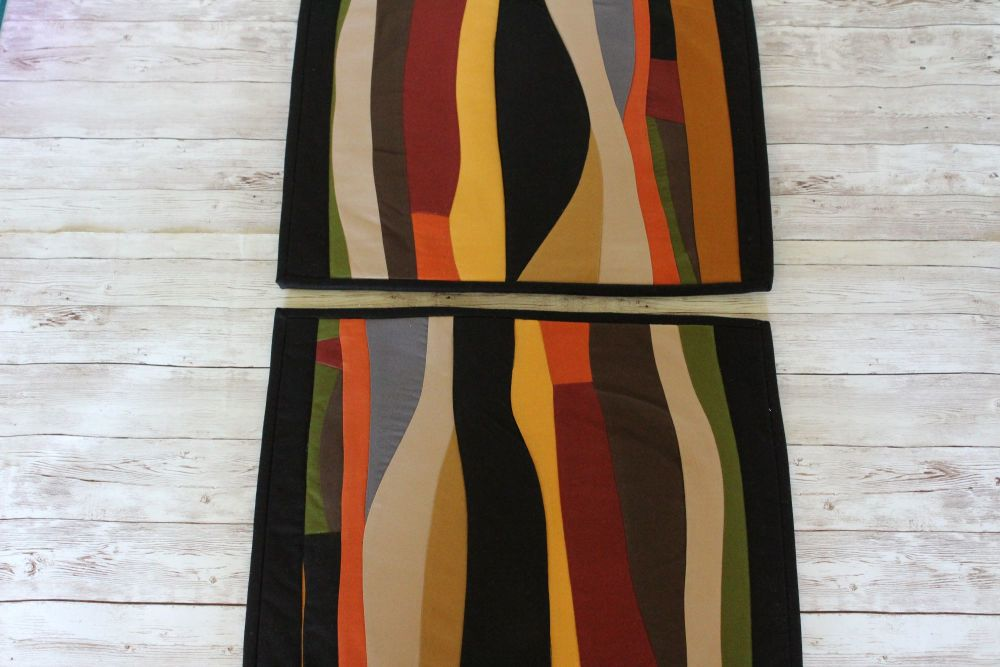 Set of Two Artisan Quilted Place Mats (Curves)