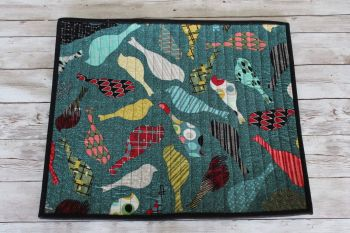 Mid Mod Birds in Teal Quilted Place Mat(2)