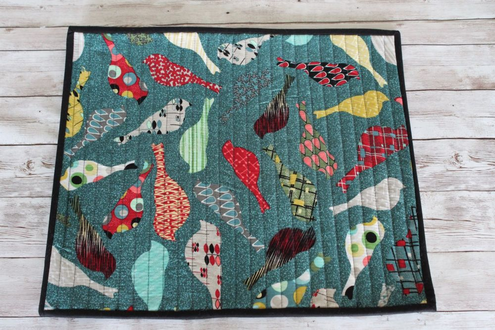 Mid Mod Birds in Teal Quilted Place Mat(3)