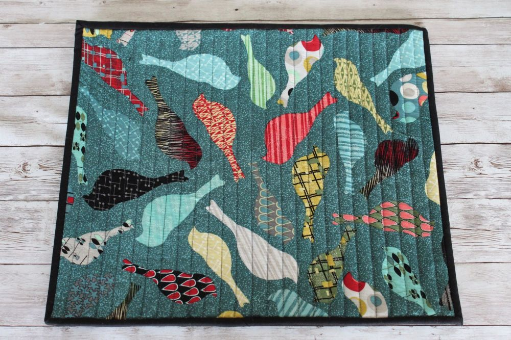 Mid Mod Birds in Teal Quilted Place Mat(4)