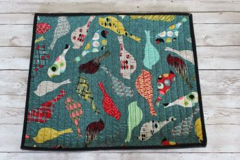 Mid Mod Birds in Teal Quilted Place Mat(8)