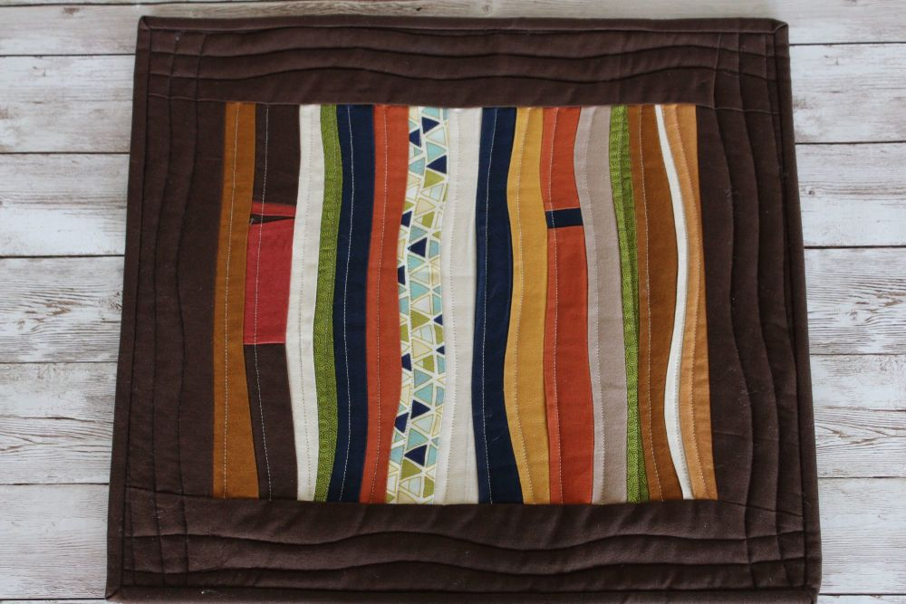 Single Improv Quilted Place Mats (Browns)