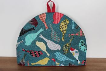Mid Mod Birds In Teal Quilted Tea Cosy(4)