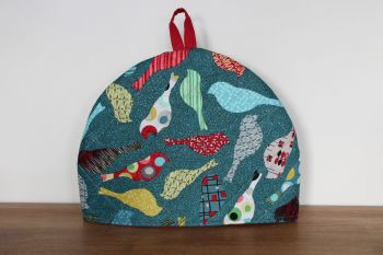 Mid Mod Birds In Teal Quilted Tea Cosy(5)