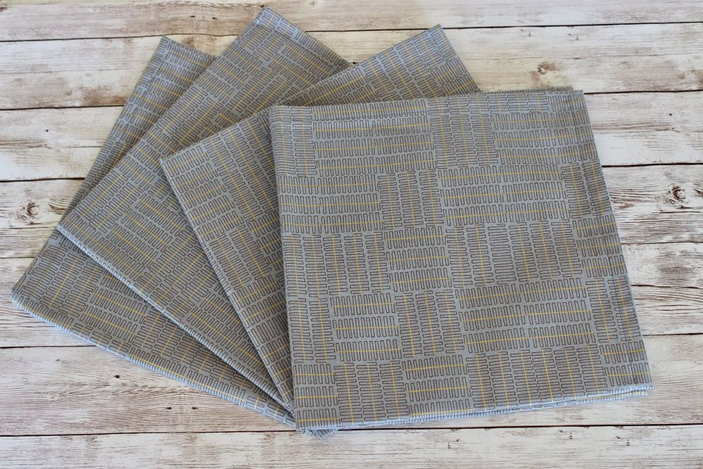 Set of Four Wayside Napkins in Grey and Brown with Gold Metallic Lines