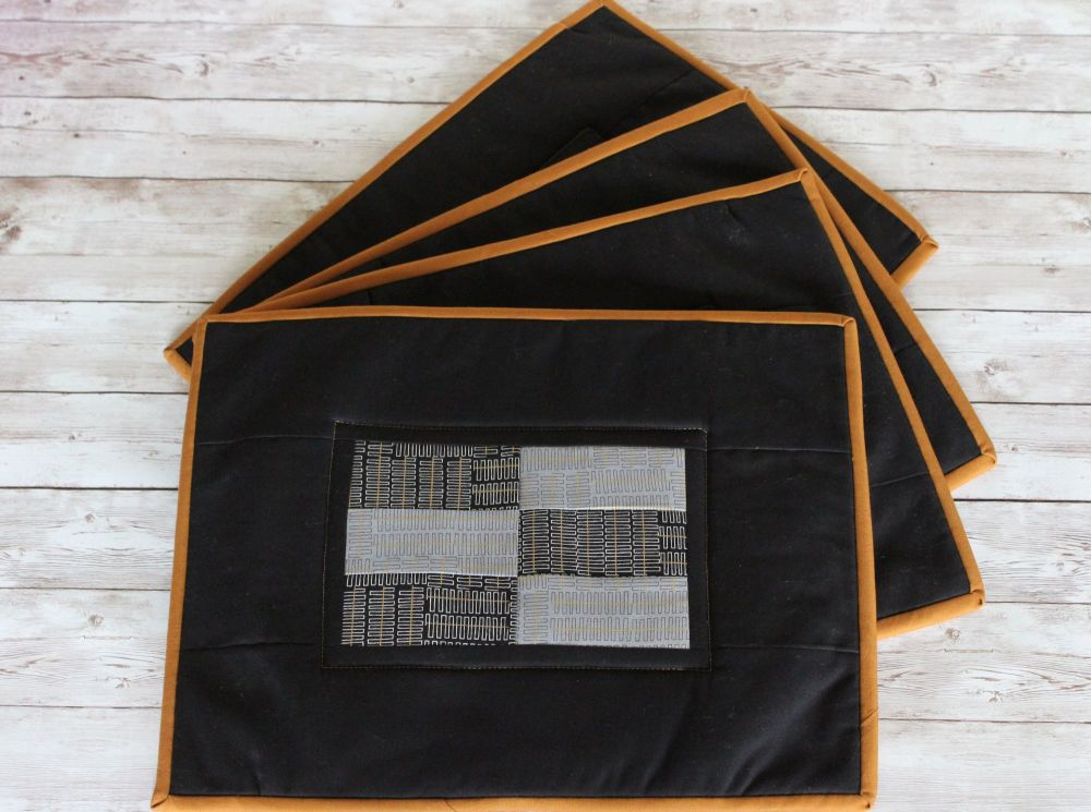 Set of Four Black and Grey Wayside Quilted Place Mats