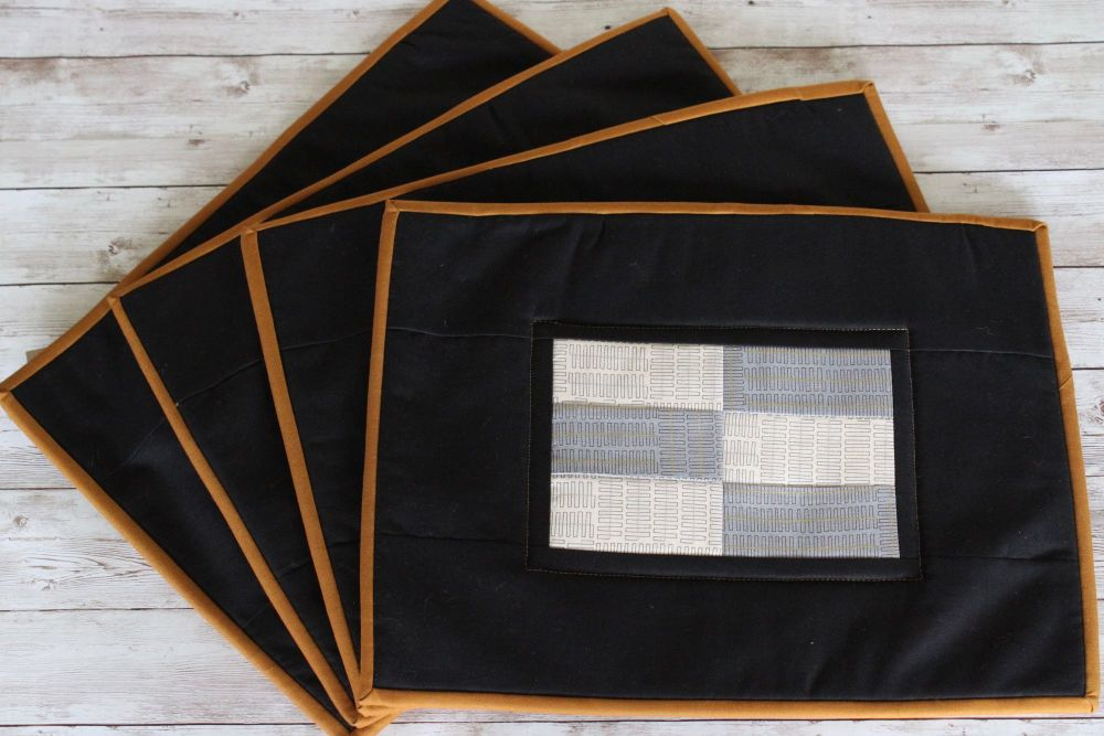 Set of Four Grey and Natural Wayside Quilted Place Mats