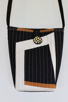 Pecan and Black Cross-Over Bag