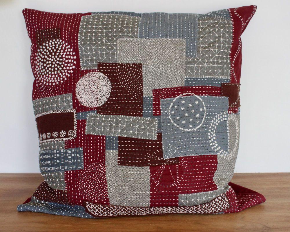 Boro/Sashiko Inspired Large Envelope Cushion (11)