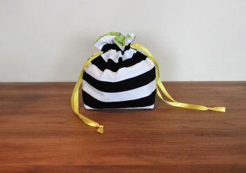 Black and White Striped Drawstring Gift Bag(2)