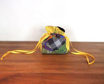 Improvised Patchwork Drawstring Gift Bag