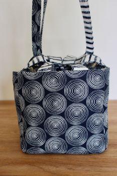 Japanese Rice Bag - Midnight Garden Swirls - Large