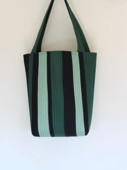 Quilted Tote Bag in Greens and Black