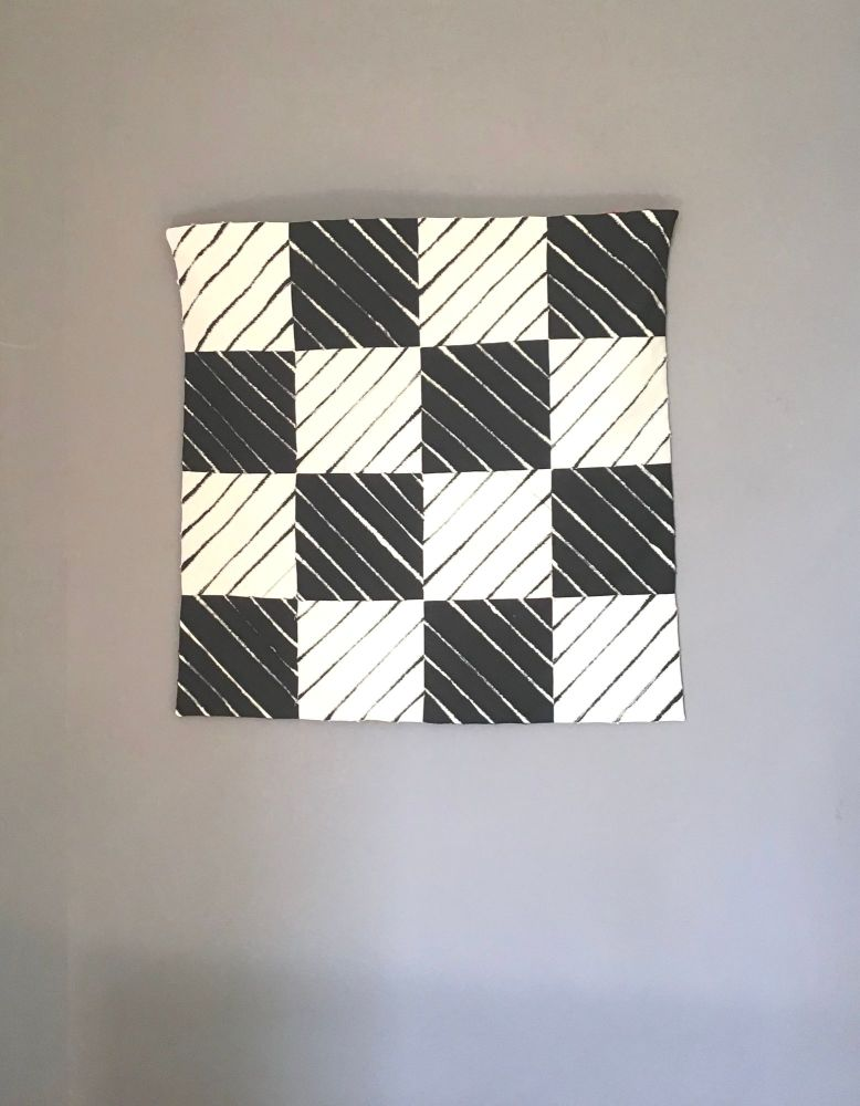 Strip and Stitch Black and Cream Wall Hanging