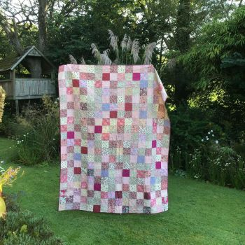 Single Patchwork Quilt in Pinks and Lilacs