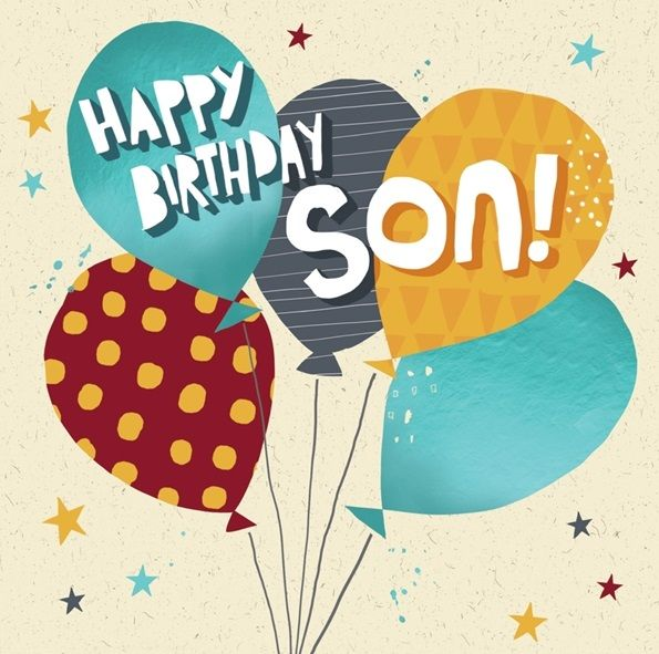 Colourful Son Birthday Card - HAPPY BIRTHDAY SON - Birthday Balloons - BOY