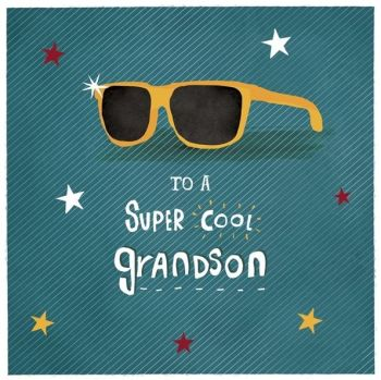 Birthday Card for Grandson - To A SUPER Cool GRANDSON - COOL Grandson BIRTHDAY Card - CARDS for GRANDSON - Cute GRANDSON Birthday GREETING Card