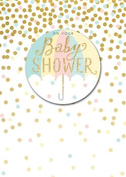 Baby Shower Cards - On YOUR Baby SHOWER - Umbrella BABY Shower CARD - Sparkly GREETING Cards - CUTE Card for BABY Shower - BABY Showers - Pregnancy