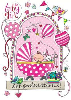 New Baby Girl Cards - Baby GIRL Congratulations - New BABY Cards - BABY Greeting CARDS - Baby GIRL Cards - CUTE Baby Balloons CARD