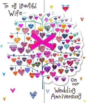 Anniversary Cards For Wife - TO MY Beautiful Wife - LOVE HEARTS Anniversary Card - Wedding ANNIVERSARY Card - ON Our WEDDING Anniversary Greeting CARD