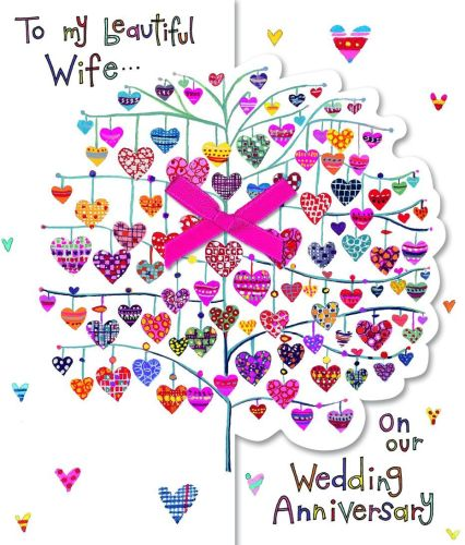 Anniversary Cards For Wife - TO MY Beautiful Wife - LOVE HEARTS Anniversary