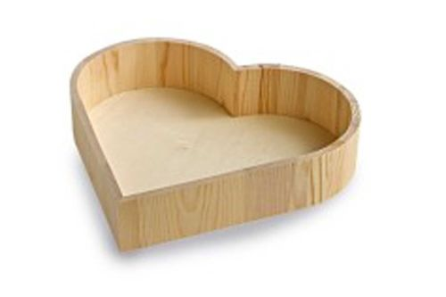 Wooden Heart Shaped Tray - LARGE Wooden HEART Presentation BOX - Wooden Tra