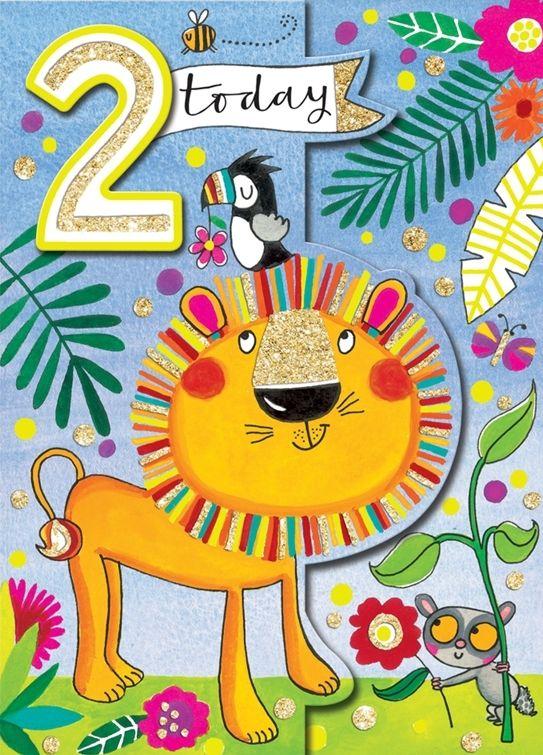 2nd Birthday Card Boy - LION 2nd Birthday CARD - 2 TODAY - LION Greeting Ca