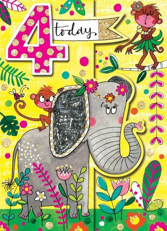 4th Birthday Card Jungle Hand Painted Childrens Card