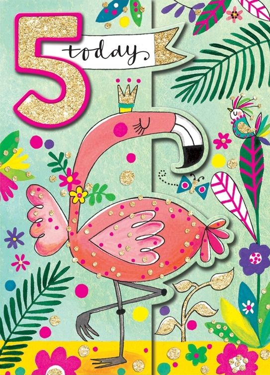 AGE 5 5th BIRTHDAY CARD Hand PAINTED Childrens Greeting Card