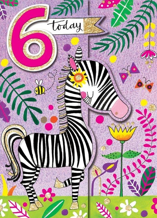 6th Birthday Card Girl - 6 TODAY Birthday Card - SPARKLY Zebra CARD - Jungl