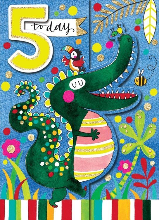 5th Birthday Card Boy - Crocodile BIRTHDAY Card - Children's CUTE 5TH Birth