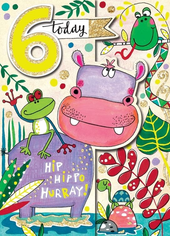 6th Birthday Card Girl - 6 TODAY - HIP HIPPO Hurray - JUNGLE Scene BIRTHDAY