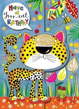 Birthday Card - Have A GRRR-EAT BIRTHDAY - Leopard BIRTHDAY Card - JUNGLE Birthday CARD - Cute Birthday CARD - Card FOR Daughter - SON - Grandson