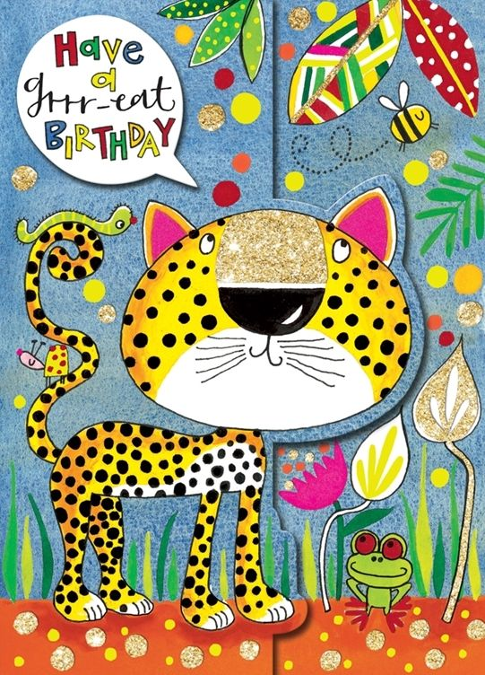 Birthday Card - Have A GRRR-EAT BIRTHDAY - Leopard BIRTHDAY Card - JUNGLE B