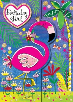 Birthday Card - FLAMINGO Birthday Card - BIRTHDAY Girl - SPARKLY Birthday CARD - Children's BIRTHDAY Card - DAUGHTER - Niece - GRANDDAUGHTER