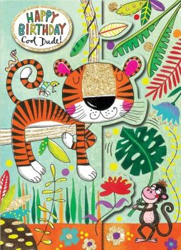 Birthday Card - COOL Dude - Happy BIRTHDAY - Tiger BIRTHDAY Card -  JUNGLE Birthday CARD - KIDS Birthday CARD - Card FOR Son - GRANDSON - Brother