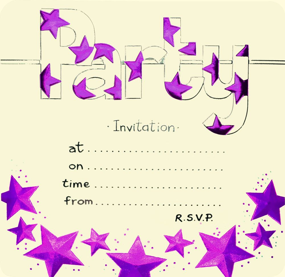 Pink Foil Party Invitations 10pk - LUXURY Cards INVITES - Party INVITATIONS