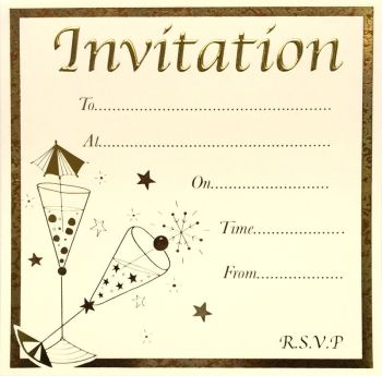 Cocktail Party Invitations - GOLD Foil Party INVITATIONS 10pk - LUXURY Card INVITES - Party INVITATIONS With MATCHING Envelopes - ADULT Invites