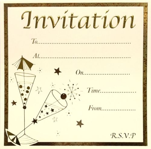 Cocktail Party Invitations - GOLD Foil Party INVITATIONS 10pk - LUXURY Card
