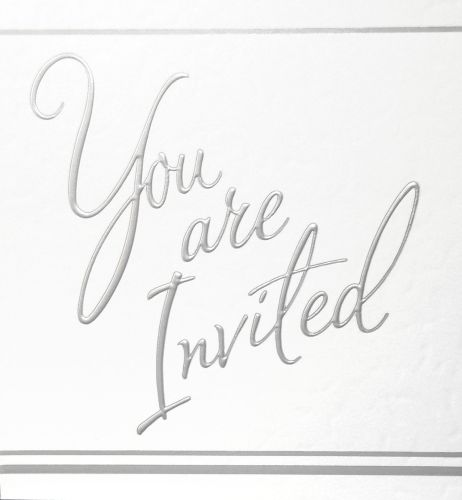Silver Foil Party Invitations 5pk - LUXURY Cards INVITES - Party INVITATION
